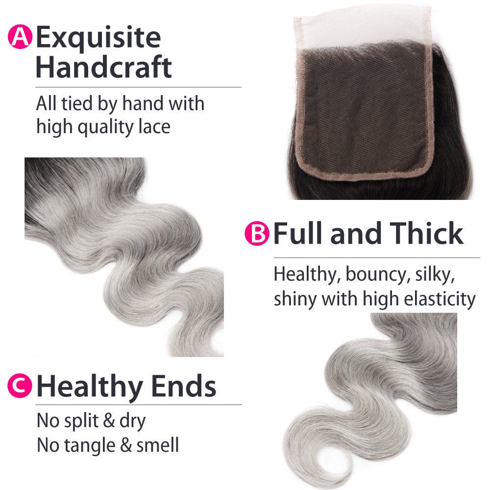 Luxury 10A 1B Gray Ombre Body Wave Lace Closure Details