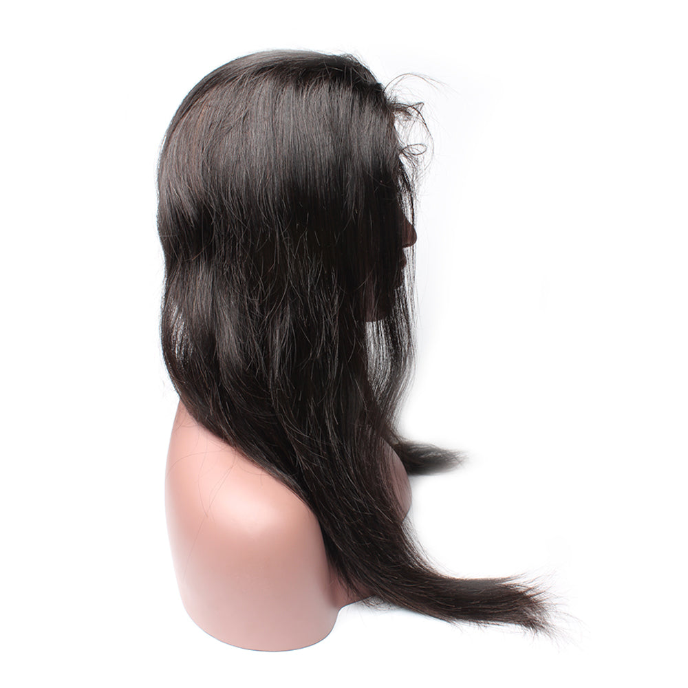 Luxury 130% Density Straight Human Hair 360 Lace Frontal Wigs Left
