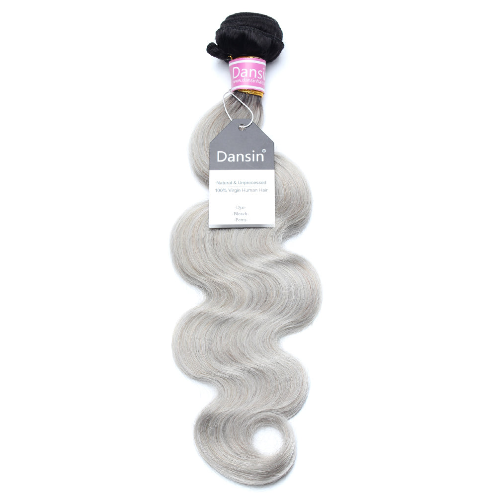 Luxury 10A Peruvian 1B Gray Ombre Body Wave Hair 1 Bundle