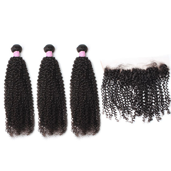 Luxury 10A Peruvian Kinky Curly Hair 3 Bundles With 1 Pc Lace Frontal