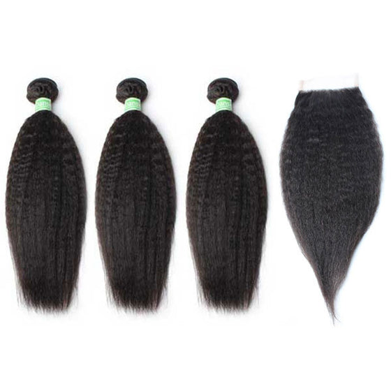 Brazilian Kinky Straight Hair 3 Bundles With 1 Pc Lace Closure