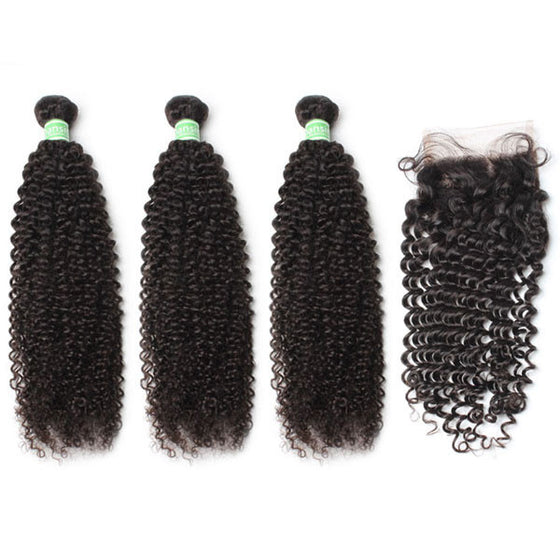 Brazilian Kinky Curly Hair 3 Bundles With 1 Pc Lace Closure