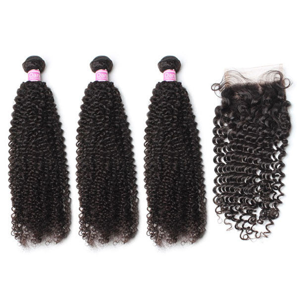 Luxury 10A Peruvian Kinky Curly Hair 3 Bundles With 1 Pc Lace Closure
