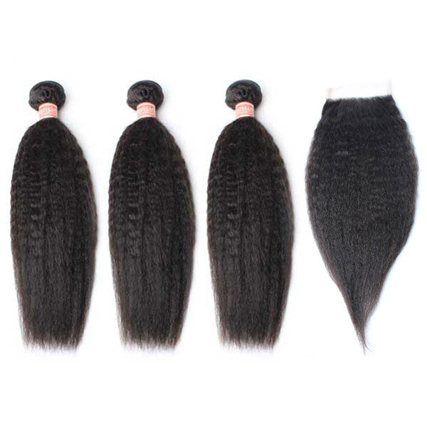 Malaysian Kinky Straight Hair 3 Bundles With 1 Pc Lace Closure