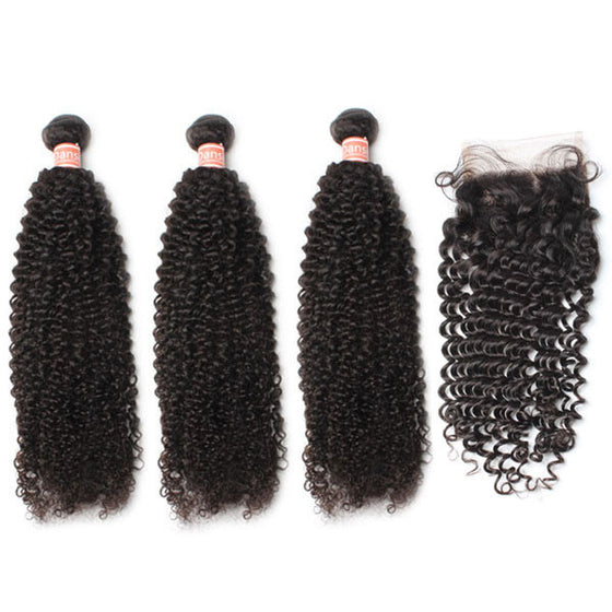 Malaysian Kinky Curly Hair 3 Bundles With 1 Pc Lace Closure