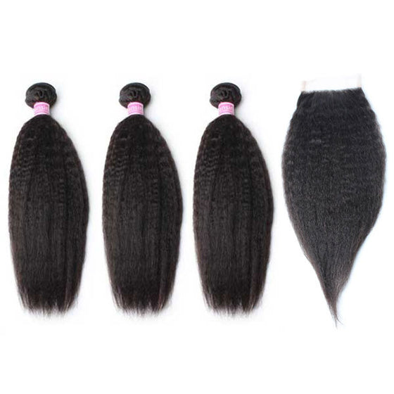 Luxury 10A Peruvian Kinky Straight Hair 3 Bundles With 1 Pc Lace Closure
