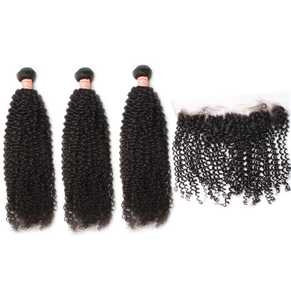 Malaysian Kinky Curly Hair 3 Bundles With 1 Pc Lace Frontal