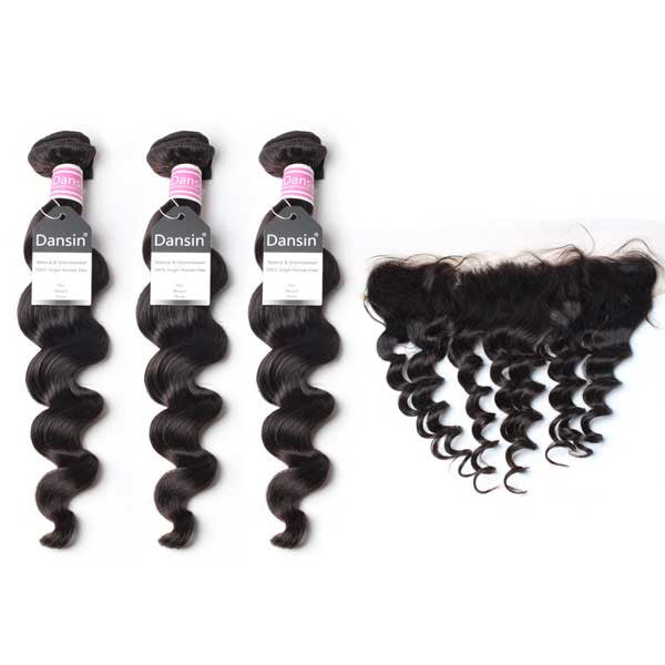 Luxury 10A Peruvian Loose Wave Hair 3 Bundles With 1 Pc Lace Frontal
