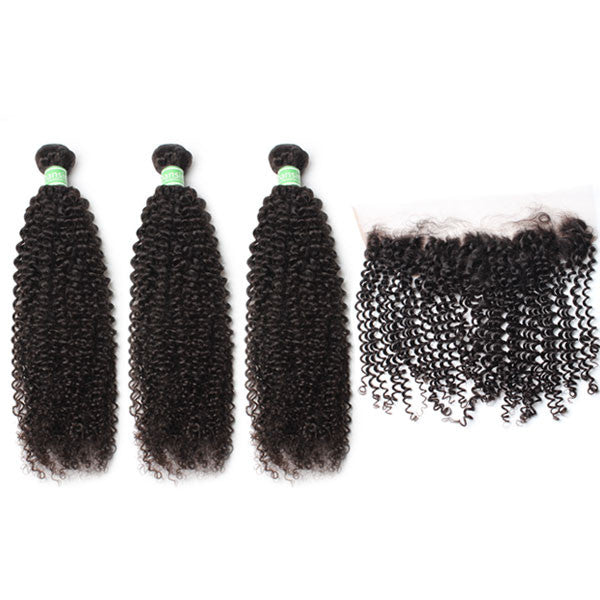 Brazilian Kinky Curly Hair 3 Bundles With 1 Pc Lace Frontal
