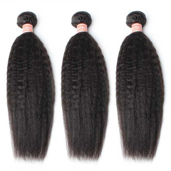 Malaysian Kinky Straight Hair 3 Bundles