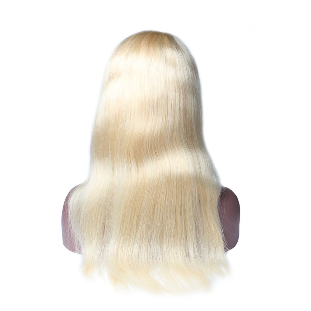 Luxury 130% Density 613 Blonde Straight Human Hair Full Lace Wigs Back
