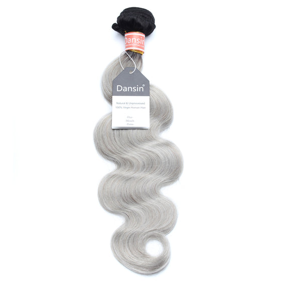 Luxury 10A Malaysian 1B Gray Ombre Body Wave Hair 1 Bundle