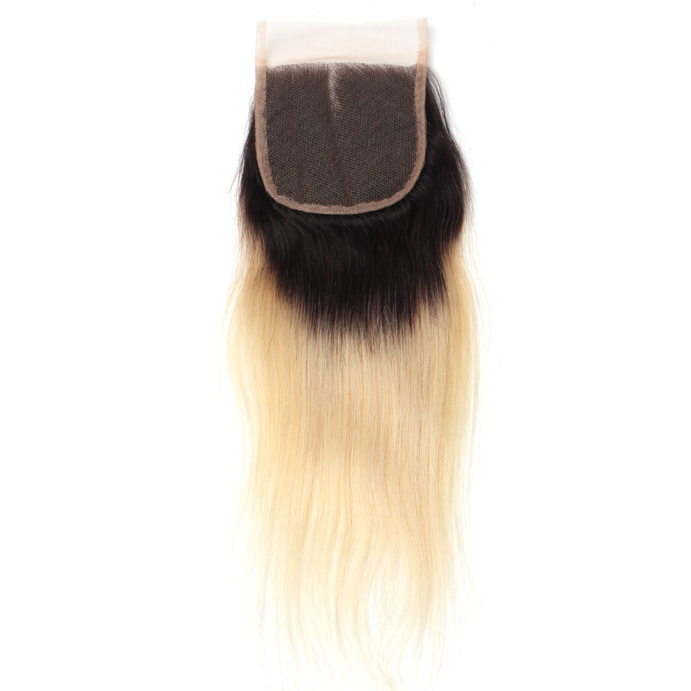 Luxury 10A 1B 613 Blonde Ombre Straight Lace Closure Back