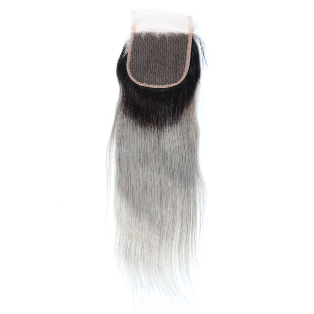 Luxury 10A 1B Gray Ombre Straight Lace Closure Black