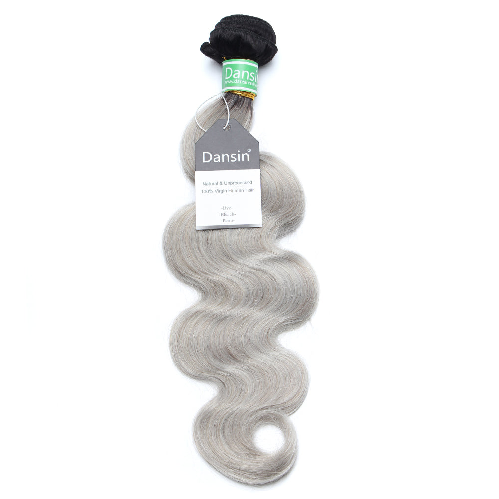 Luxury 10A Brazilian 1B Gray Ombre Body Wave Hair 1 Bundle