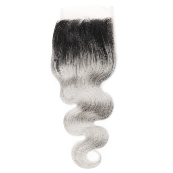 Luxury 10A 1B Gray Ombre Body Wave Lace Closure