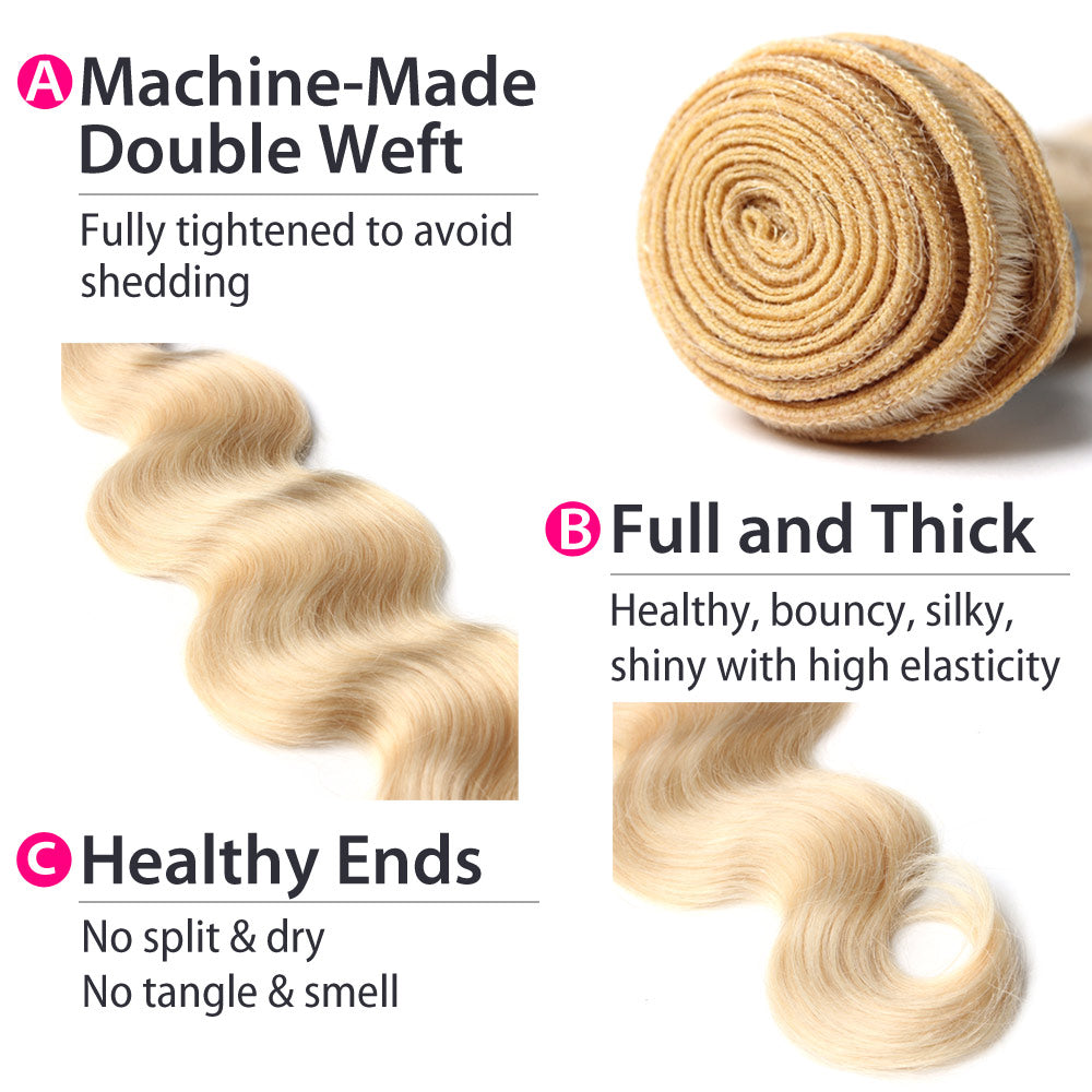 Luxury 10A 613 Blonde Brazilian Body Wave Hair 3 Bundles Details