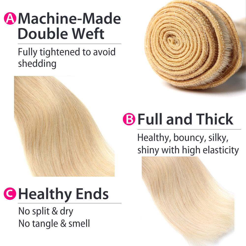 Luxury 10A Brazilian 613 Blonde Straight Hair 3 Bundles Details