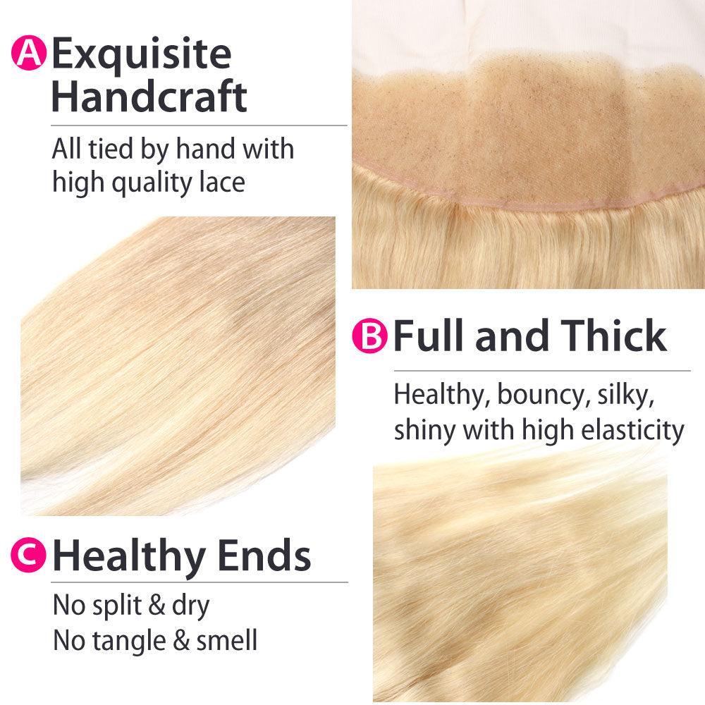 Luxury 10A Malaysian 613 Blonde Straight Lace Frontal Details