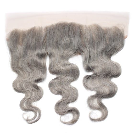 Luxury 10A Pure Gray Body Wave Lace Frontal