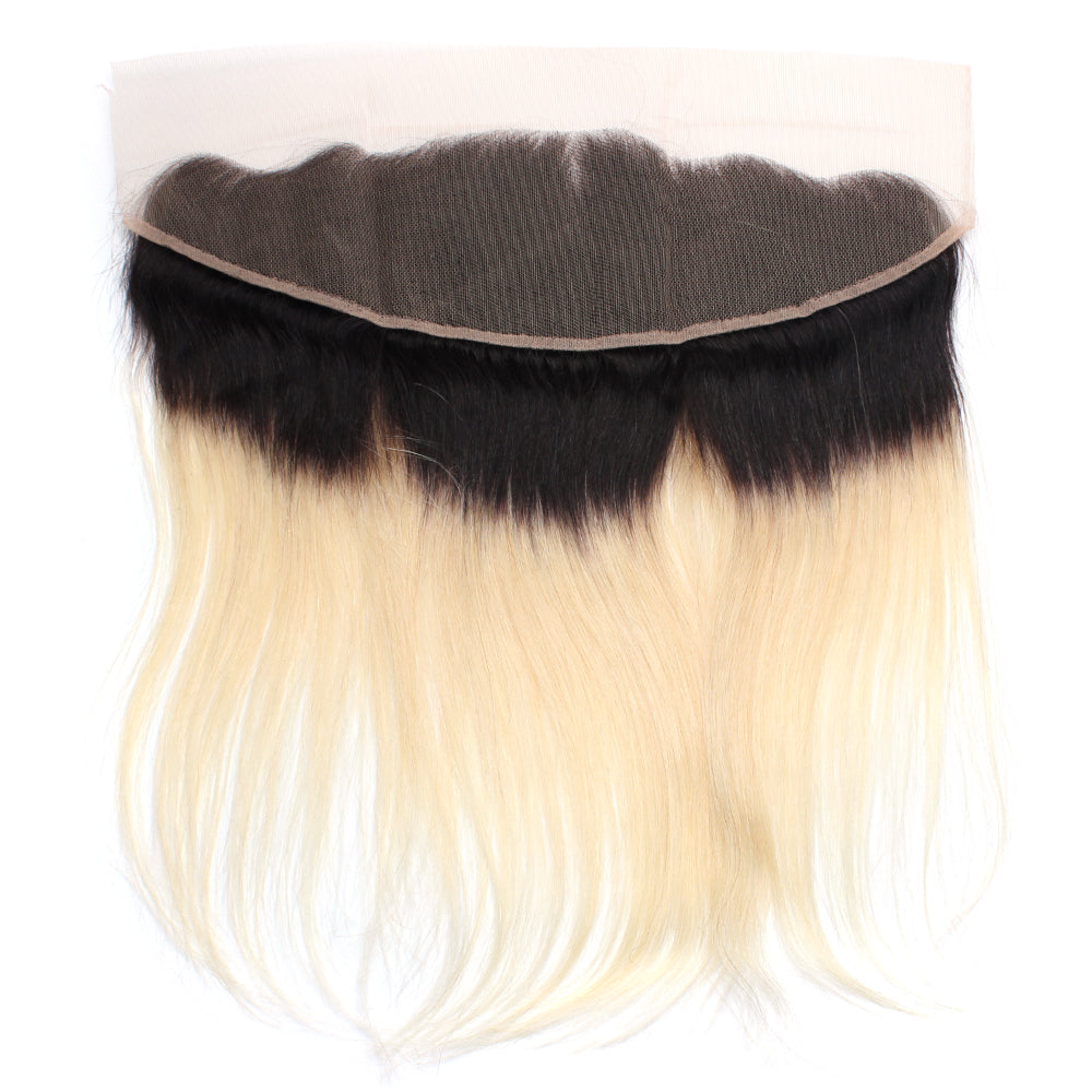 Luxury 10A 1B 613 Blonde Ombre Straight Lace Frontal Back