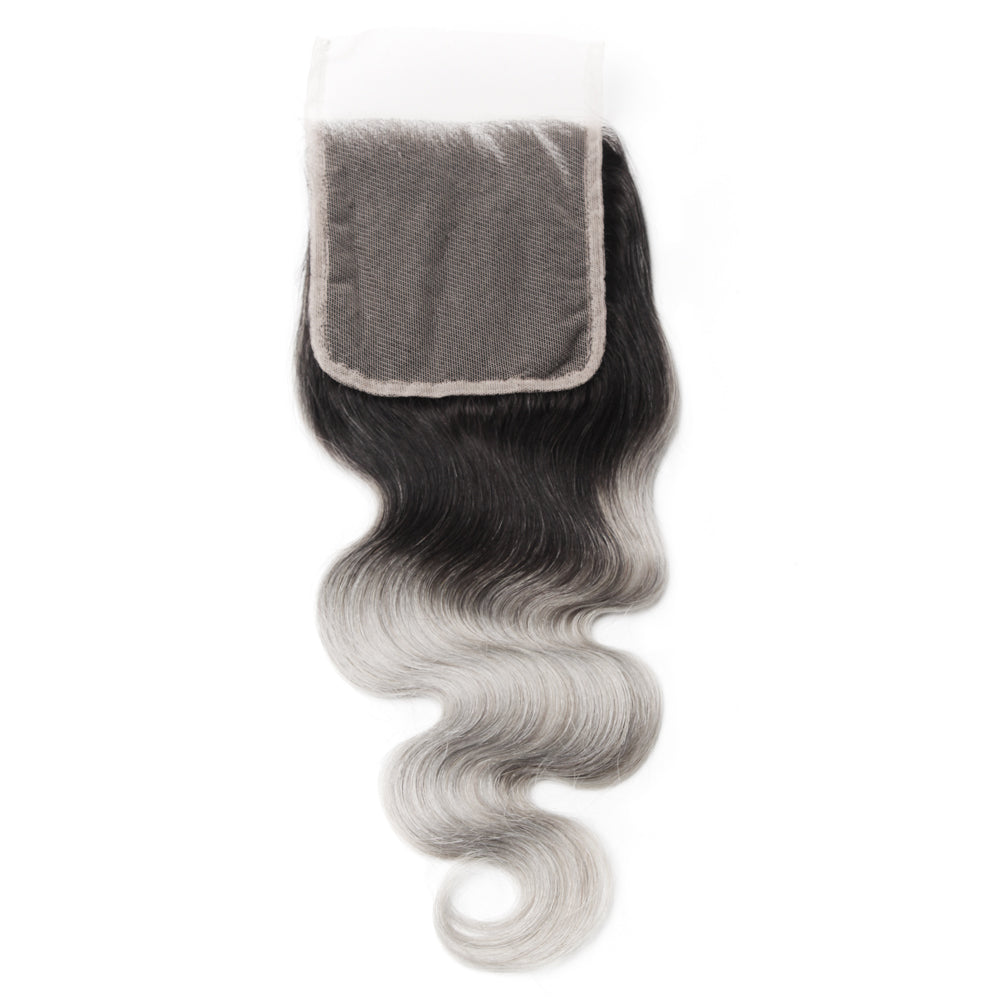 Luxury 10A 1B Gray Ombre Body Wave Lace Closure Back