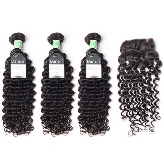 Brazilian Deep Wave Hair 3 Bundles With 1 Pc Lace Closure