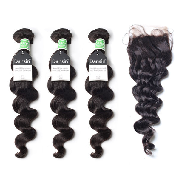 Brazilian Loose Wave Hair 3 Bundles With 1 Pc Lace Closure  Apps   Save