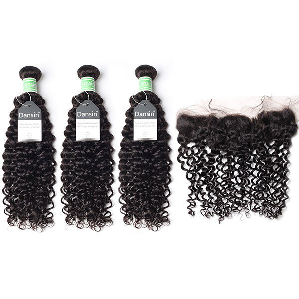 Brazilian Curly Hair 3 Bundles With 1 Pc Lace Frontal