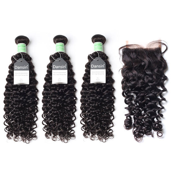 Luxury 10A Brazilian Curly Hair 3 Bundles With 1 Pc Lace Closure