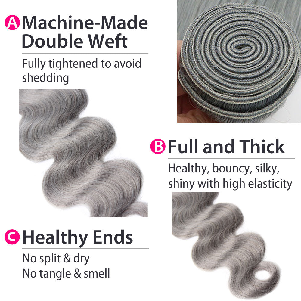 Luxury 10A Peruvian Pure Gray Body Wave Hair 3 Bundles Details