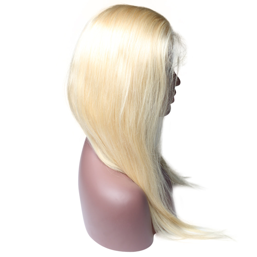 Luxury 150% Density 613 Blonde Straight Human Hair Full Lace Wigs Left