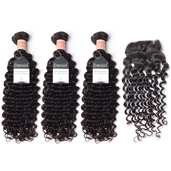 Malaysian Deep Wave Hair 3 Bundles With 1 Pc Lace Closure  Apps   Save