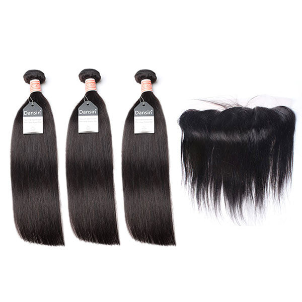 Malaysian Straight Hair 3 Bundles With 1 Pc Lace Frontal