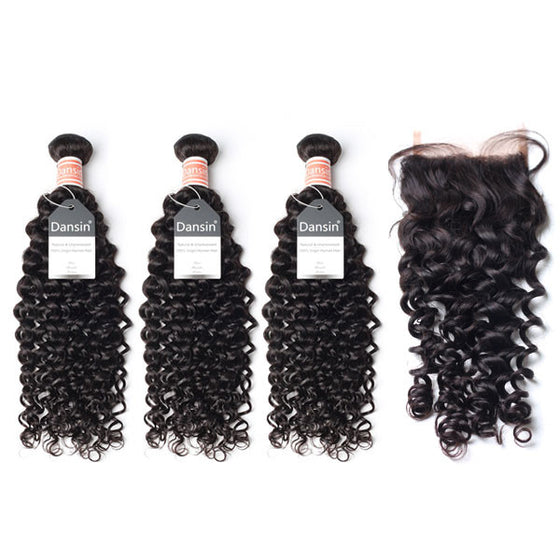 Malaysian Curly Hair 3 Bundles With 1 Pc Lace Closure