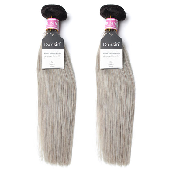 Luxury 10A Peruvian 1B Gray Ombre Straight Hair 2 Bundles