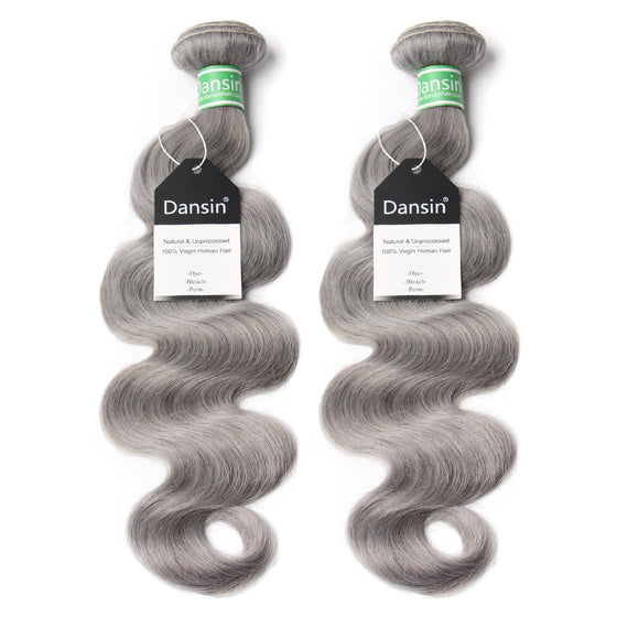 Luxury 10A Brazilian Pure Gray Body Wave Hair 2 Bundles