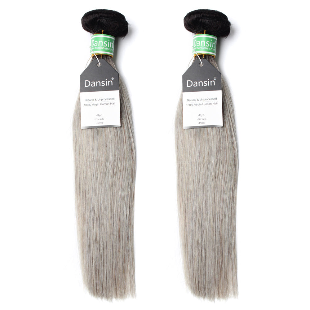 Luxury 10A Brazilian 1B Gray Ombre Straight Hair 2 Bundles