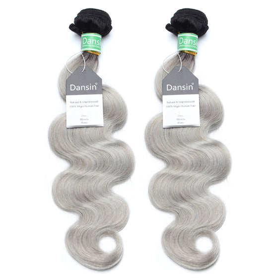 Luxury 10A Brazilian 1B Gray Ombre Body Wave Hair 2 Bundles