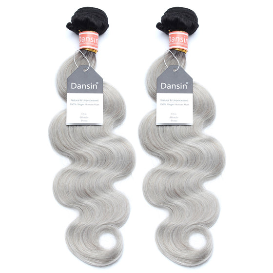 Luxury 10A Malaysian 1B Gray Ombre Body Wave Hair 2 Bundles