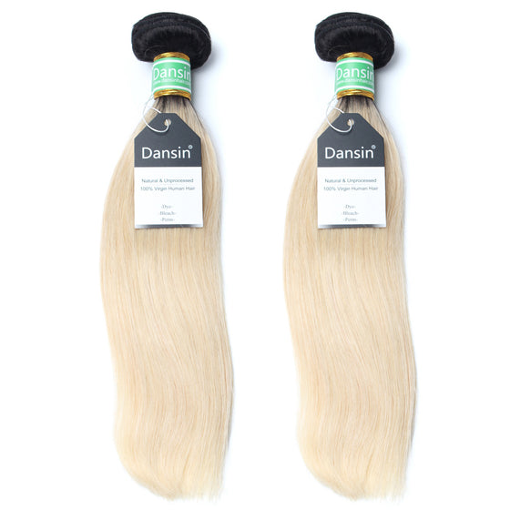 Luxury 10A 1B 613 Blonde Ombre Brazilian Straight Hair 2 Bundles