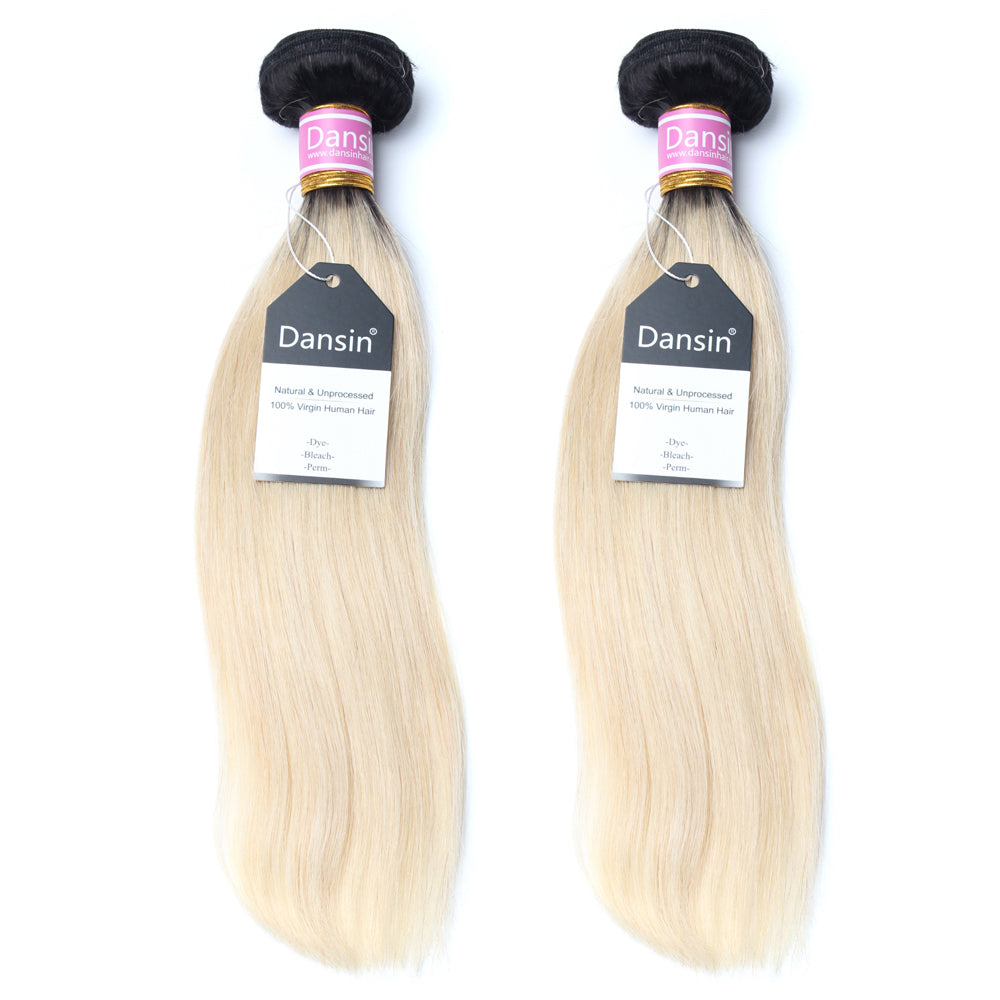 Luxury 10A 1B 613 Blonde Ombre Peruvian Straight Hair 2 Bundles