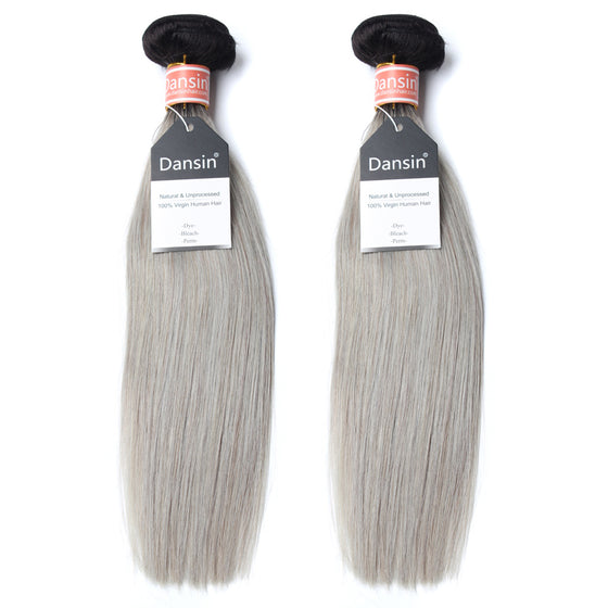 Luxury 10A Malaysian 1B Gray Ombre Straight Hair 2 Bundles