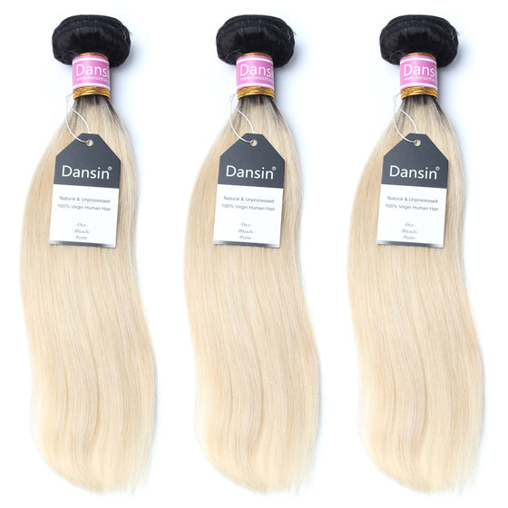 Luxury 10A 1B 613 Blonde Ombre Peruvian Strtight Hair 3 Bundles