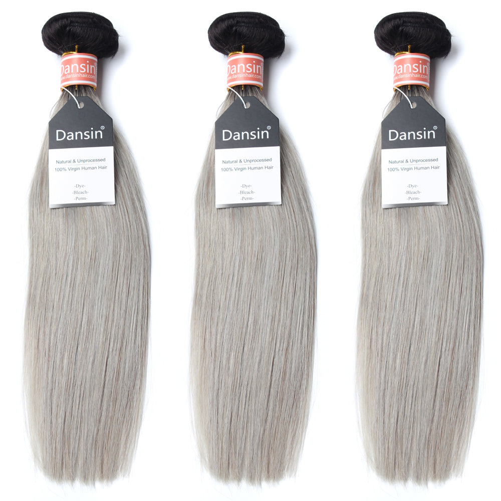 Luxury 10A Malaysian 1B Gray Ombre Straight Hair 3 Bundles