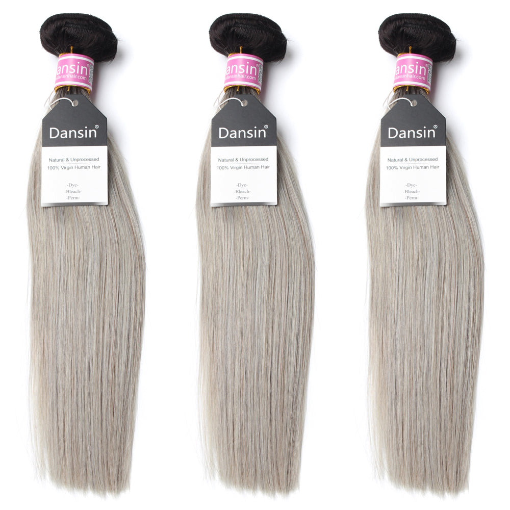 Luxury 10A Peruvian 1B Gray Ombre Straight Hair 3 Bundles