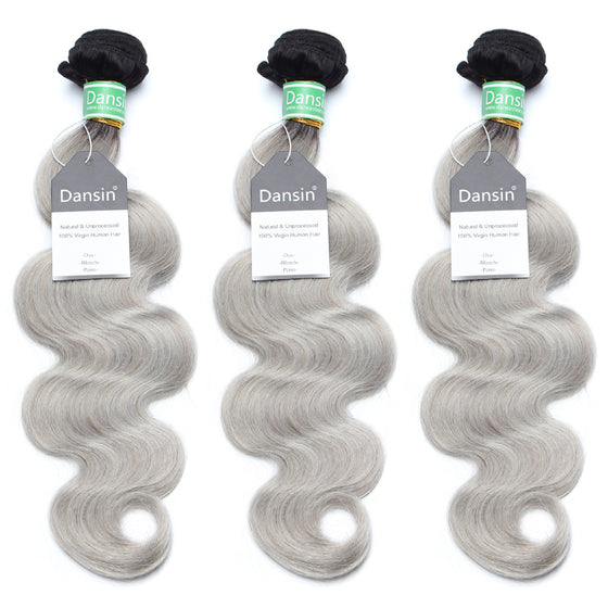 Luxury 10A Brazilian 1B Gray Ombre Body Wave Hair 3 Bundles