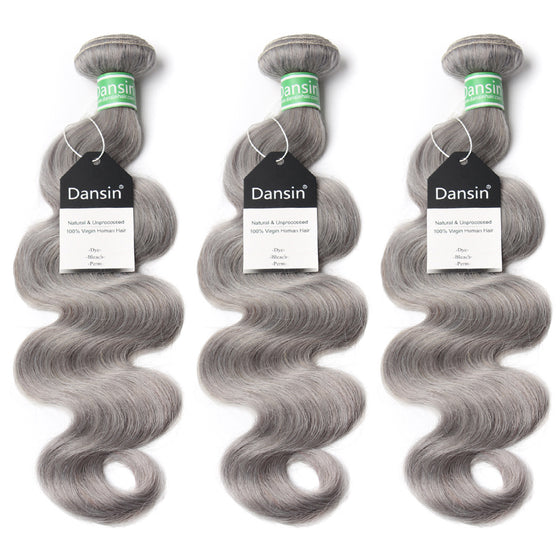 Luxury 10A Brazilian Pure Gray Body Wave Hair 3 Bundles