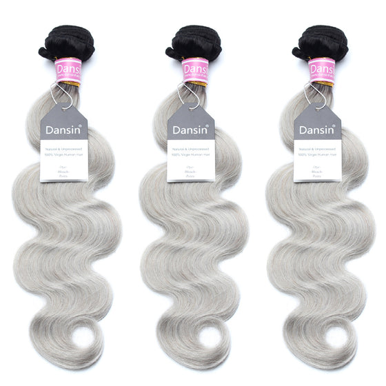 Luxury 10A Peruvian 1B Gray Ombre Body Wave Hair 3 Bundles