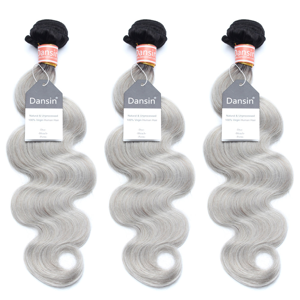 Luxury 10A Malaysian 1B Gray Ombre Body Wave Hair 3 Bundles